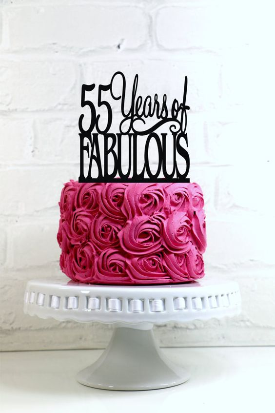 55 Years of Fabulous 55th Birthday Cake Topper or by WyaleDesigns:
