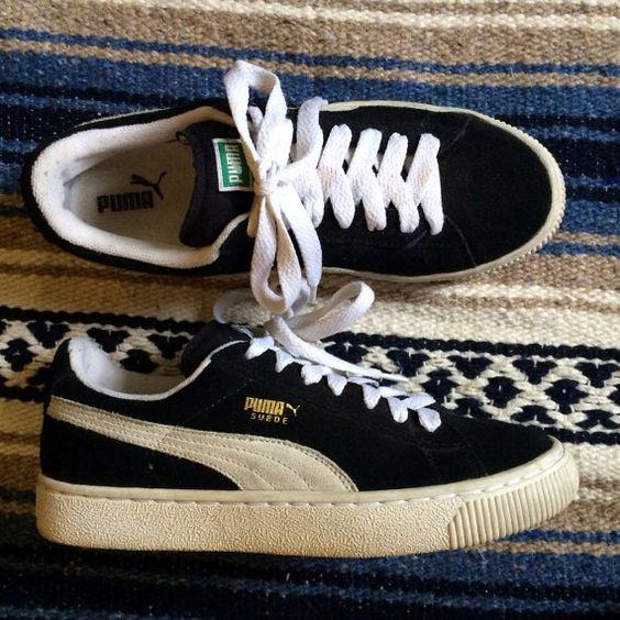 Puma Suede Platform Black And White