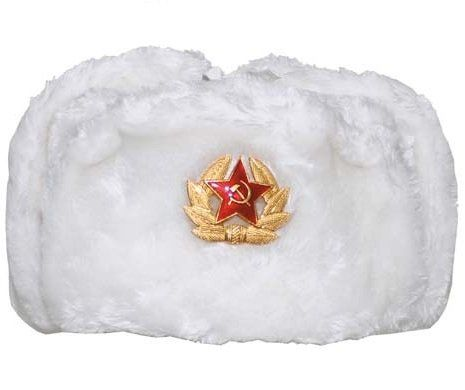 MFH Russische Fellmütze, weiß, mit Abzeichen / mehr Infos auf: www.Guntia-Militaria-Shop.de
