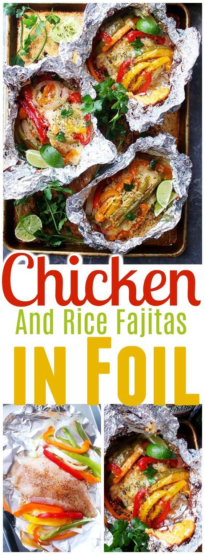 Chicken And Rice Fajitas In Foil