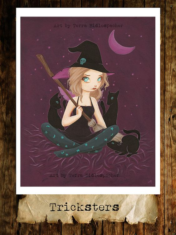 Fairy WITCH goth print with black cats -Tricksters