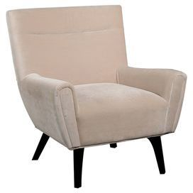 "Contemporary accent chair with cream faux suede upholstery and exposed wood legs. Product: Chair    Construction Material: Wood and microfiber suede    Color: Cream   Features: Will enhance any dcor   Dimensions: 36"" H x 34"" W x 33"" D"