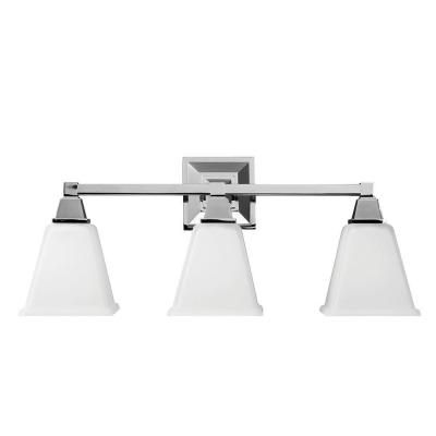 Sea Gull Lighting Denhelm 3-Light Chrome Wall/Bath Vanity Light with Inside White Painted Etched Glass-4450403-05 - The Home Depot
