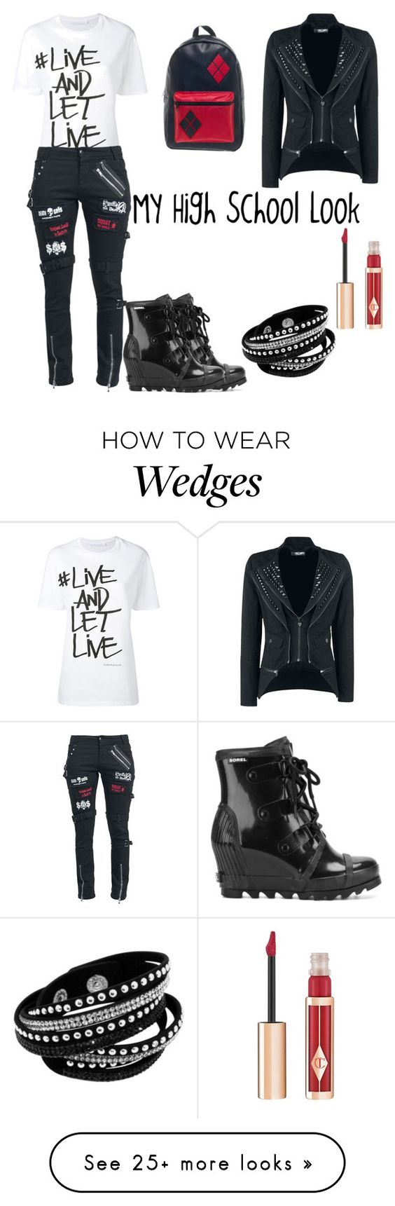 """High School look"" by freefreak on Polyvore featuring Neil Barrett, SOREL and Charlotte Tilbury"
