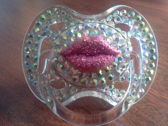 BLINKY'S lip decal rhinestone pacifier with by BorntoBlingBoutique