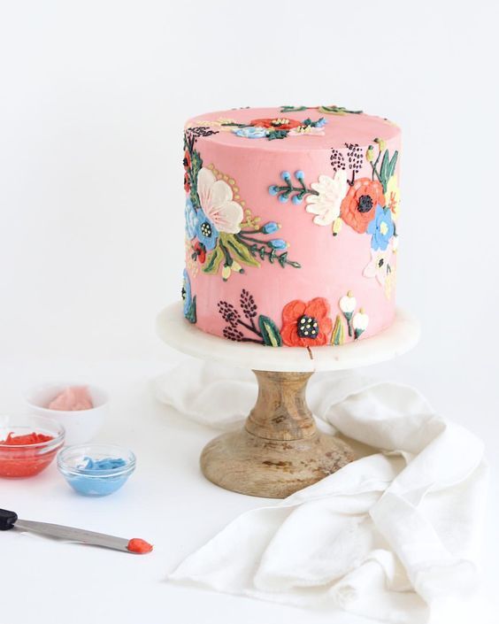 Gorgeous flower cake with pink background
