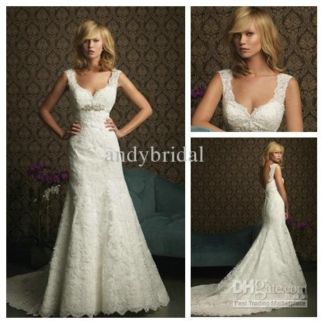Softly Feminine Silver Beaded Sweetheart Mermaid Style Lace Wedding Dresses 2013 Long
