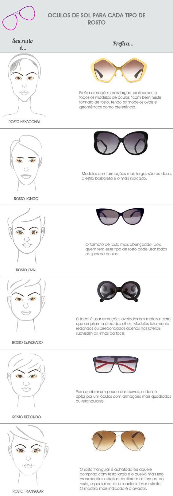 óculos de sol para cada tipo de rosto: