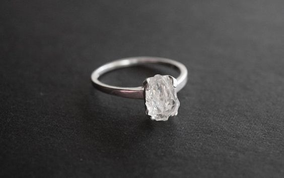 Raw Diamond Ring Natural Rough Uncut Gemstone Engagement Ring Promise Ring on Etsy, $118.00
