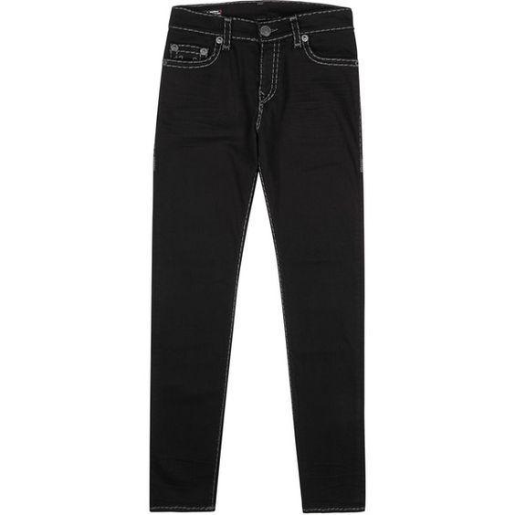 True Religion Rocco Super T black slim-leg jeans ($380) ❤ liked ...