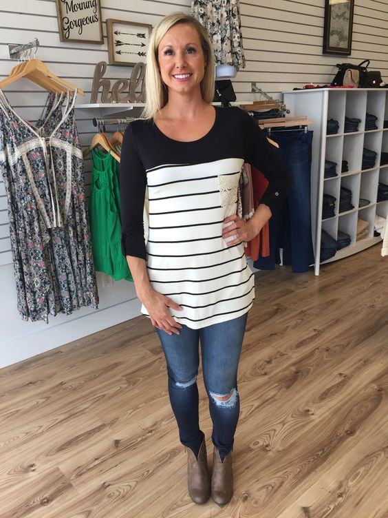 Stripe/Colorblock 3/4 Sleeve Top-Black - The Style Bar Boutique  - 1