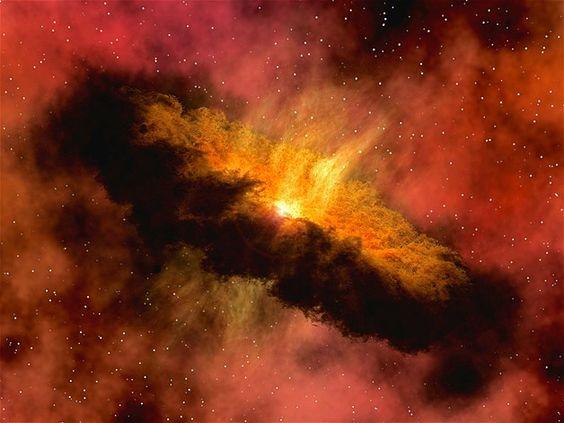 Imagem mostra a representação de um sistema solar registrado por um telescópio da Nasa. O sistema tem água em forma de vapor suficiente para encher cinco vezes todos os oceanos da Terra. O vapor começa como gelo no centro de um casulo e é liberado em meio a uma poeira planetária, vaporizando-se. Eventualmente, a água pode ajudar no desenvolvimento de planetas