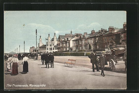 old postcard: AK Morecambe, The Promenade with people