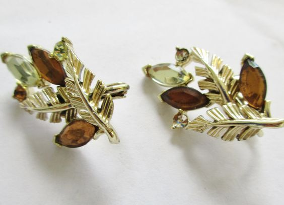 CORO Amber Leaves Earrings Clear Crystals Vintage Clip On Gold Tone by UnderTheBaobobTree on Etsy