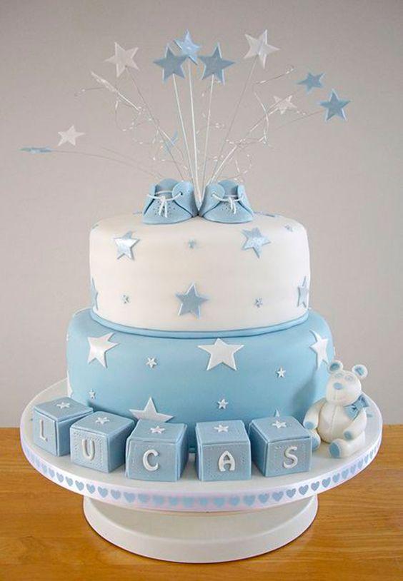 bolo azul -cha de bebe