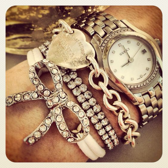 How to wear: watches+ charm bracelets: Tiffany Bracelets, Tiffany S, Arm Candy, Arm Party, Bow Bracelet, Armcandy, Vintage Bracelet, Arm Candies