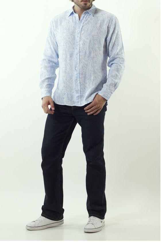 Natural Blue Egyptian Linen Shirt $125