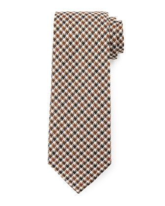 Houndstooth-Stripe+Tie,+Brown+by+TOM+FORD+at+Neiman+Marcus.