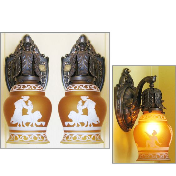 Materials Unlimited - L11256 - Pair of Antique Neoclassical Wall Sconces with Amber Shades, $875.00 (http://www.materialsunlimited.com/l11256-pair-of-antique-neoclassical-wall-sconces-with-amber-shades/)