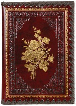 """Gold Roses Refillable Leather Journal with Embossed Roses Design, Ivory Sheets, Lined, 6x8"""": Gold Roses, Roses Refillable, Leather Journals, Victorian Rose, Roses Burgundy, Roses Leather, Roses Design"""