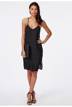 Crepe Cami Midi Dress Black