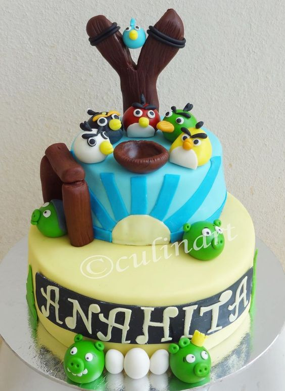 A Two tiered Angry Bird cake