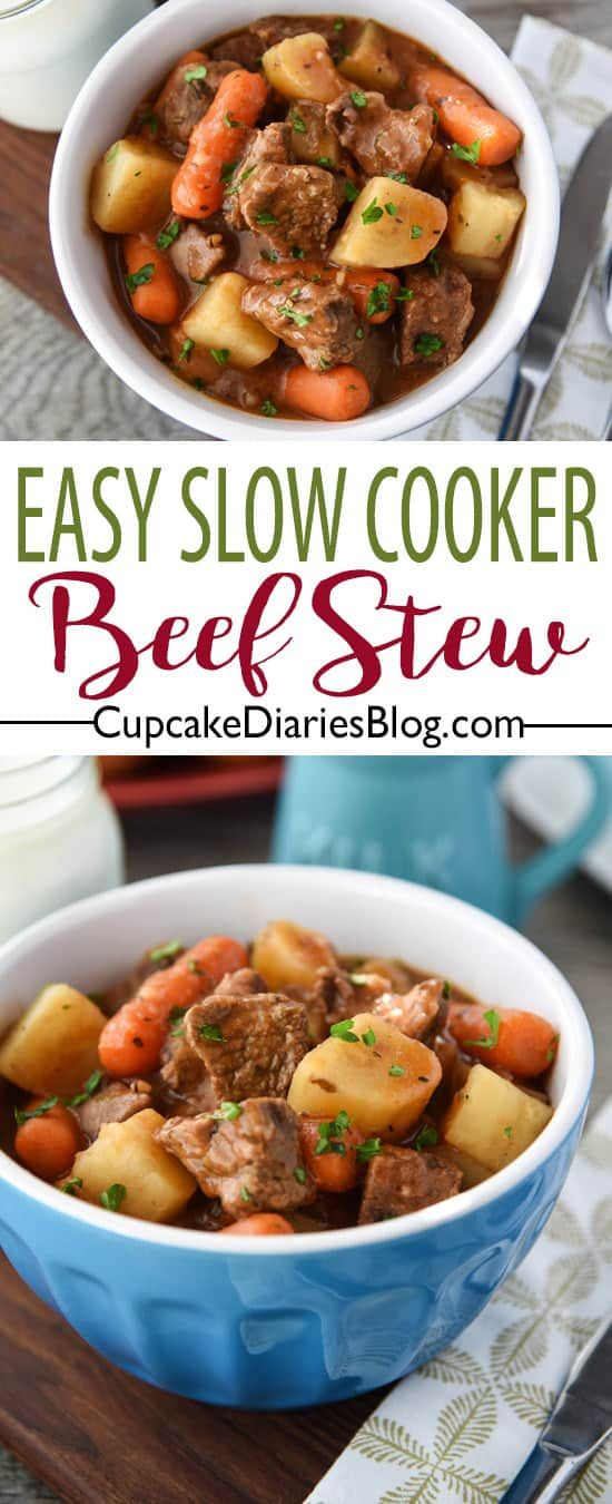 Easy Slow Cooker Beef Stew Slow Cooker Recipes Beef Slow Cooker Beef Stew Easy Slow Cooker Beef Stew