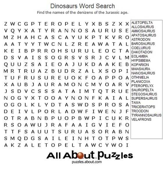 Animal Word Search Games in Large Print: Dinosaurs Word Search