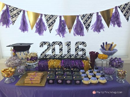 college graduation party, college graduation dessert table, college grad candy buffet, purple and gold candy buffet, University of Washington, UW Huskies, UDub @uofwa