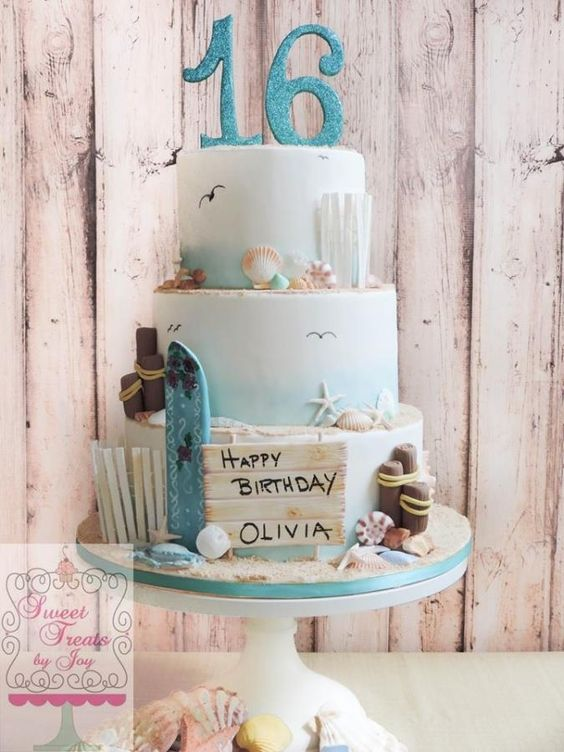 Beach Cake - change the name &. the #1 to a #4... Could be my next bday cake! HINT, HINT...