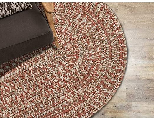 Farmhouse 12 X 16 Oval Tweed Indoor Outdoor Braided Rug Cabin Amp Lodge Reversible Textured Ombre Geometric Area Ru In 2020 Geometric Area Rug Ivory Rug Handcraft