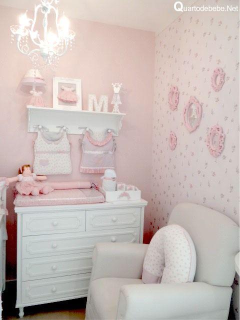 Papel parede rosa molduras provençal Coisas para  ~ Quarto Rosa Para Bebe