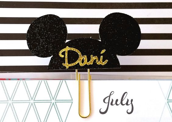 Custom black and gold mouse ears plannerclip/paperclip/bookmark/journal marker by PaperMyLife on Etsy