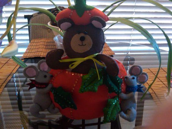 Pumpkin Bear and Mice Wallhanging by susanmarieuponastar on Etsy, $30.00
