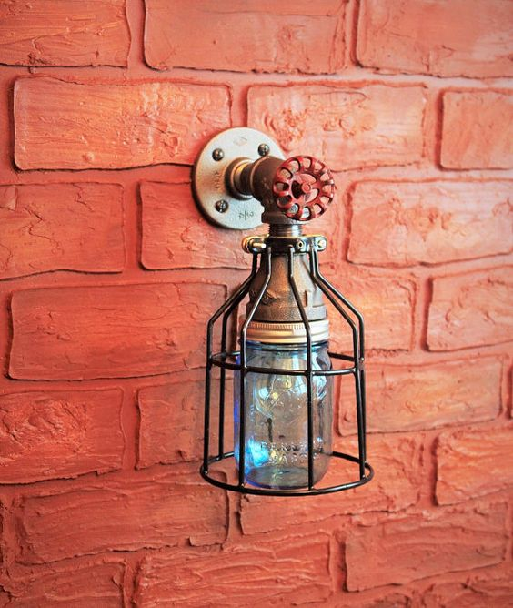 Glass Jar Wall Lights : Outdoor porch lights, Industrial light fixtures and Jars on Pinterest