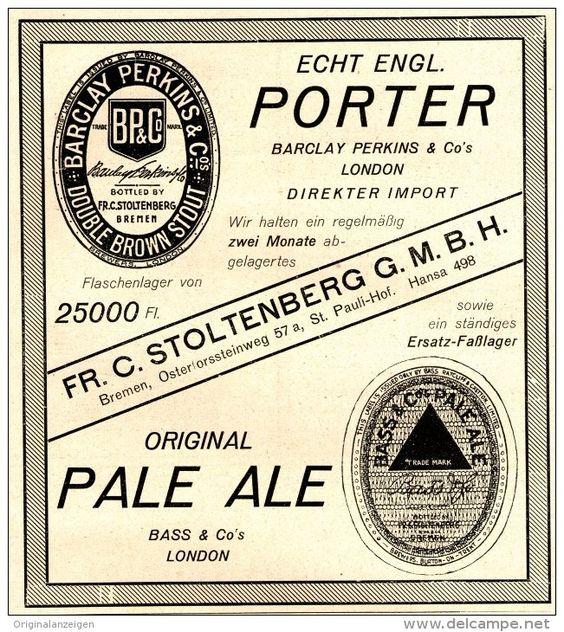 Original-Werbung/Anzeige 1925 - BARCLAY PERKINS PORTER - LONDON / STOLTENBERG - BREMEN - ca. 130 x 140 mm