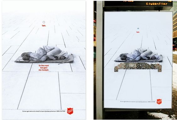 Salvation Army Posters- i pound can make a difference (bed, roof over their head)