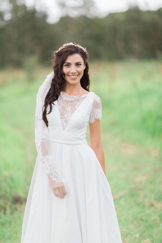 Magical Moments silk crepe ivory wedding gown by JenniferGoBridal