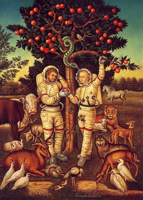 From The Vault of Retro Sci-Fi. Adam and Eve astronauts in the Garden of Eden. No info on this one; Tineye search revealed nothing. #art #astronauts #gardenofeden