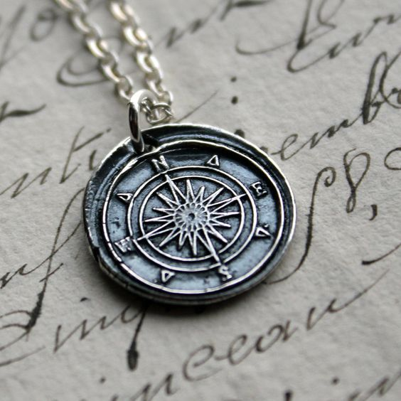 Compass Wax Seal Necklace in fine silver - $47.00, via Etsy.