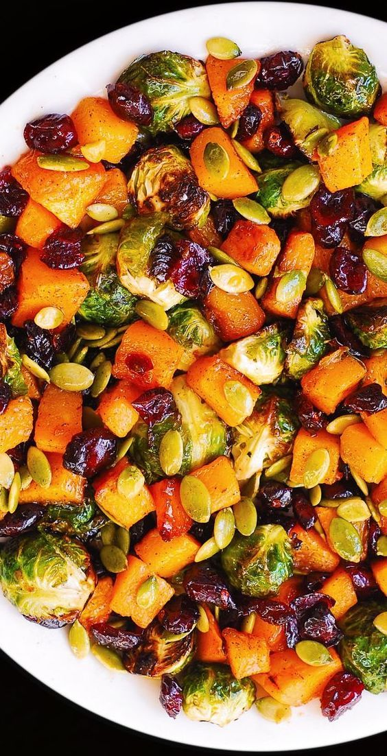 Roasted Brussels Sprouts, Maple Butternut Squash, Pumpkin Seeds, and Cranberries