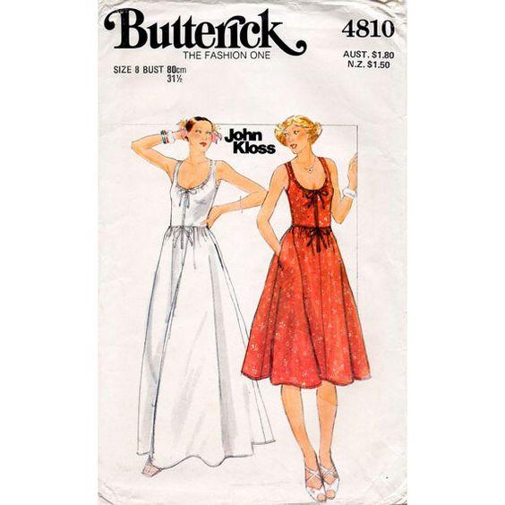 HALF PRICE 1970s Scoop Neck Sun Dress Pattern Butterick 4810 Designer John Kloss Vintage Petites Sewing Pattern Bust 31.5 FF Unused