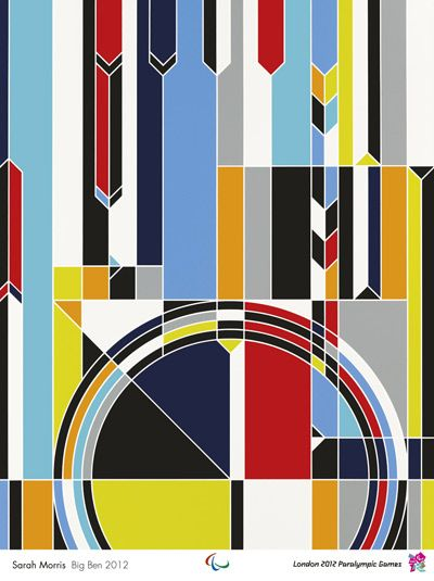 2012 Official Olympic Poster:  Sarah Morris' design, Big Ben 2012, involves grids and vivid colours designed to create a sense of dynamism and evoke images of athletic tracks, swimming lanes, and field markings.