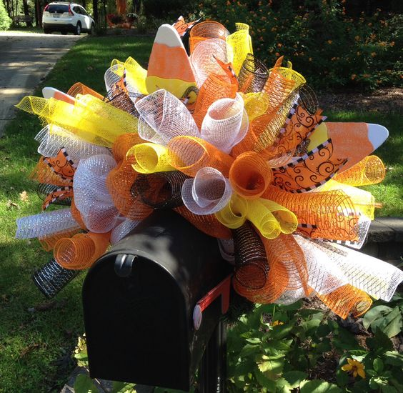 Candy corn deco mesh mailbox cover