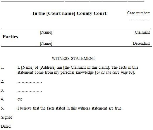 Sample Defendant Witness Statement  Good Ideas