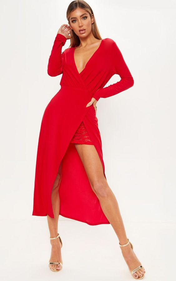 Red Slinky Lace Insert Wrap Midaxi DressGive you look some sass with this totally fierce midaxi d...