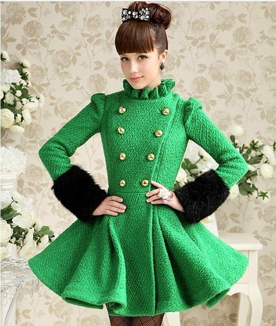 Green wool dress coat black faux fur cuffs gold buttons | Classy