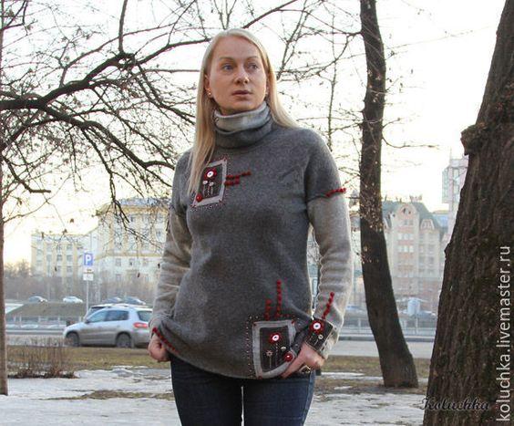 Купить Свитер серый с огоньком - серый, теплый свитер, вязаный свитер, зимняя одежда