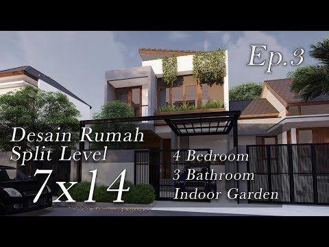 Inspirasi Desain Rumah Split Level Lahan 7x14m Youtube Desain Rumah Desain Rumah Modern Arsitektur