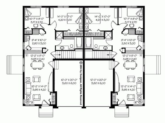 Bungalow townhouses granny flats and small houses for Stacked duplex floor plans